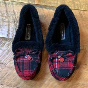 Michael Koran red plaid slippers with faux fur